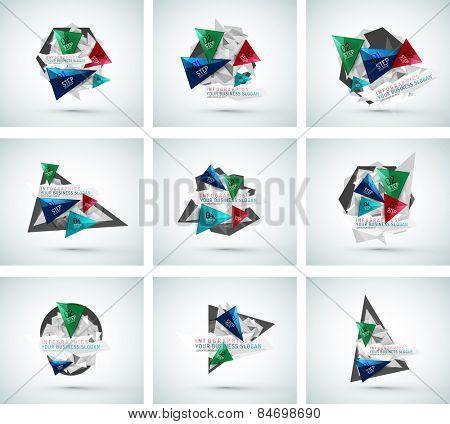 Set of triangle shape modern paper infographics. Minimal design