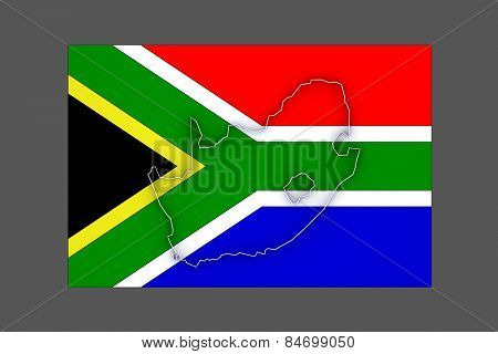 Map of Republic of South Africa (RSA). 3d