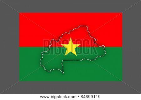 Map of Burkina Faso. 3d