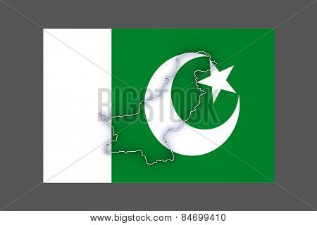 Map of Pakistan. 3d