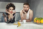 picture of breakfast  - Funny couple after breakfast - JPG