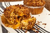 image of pecan  - Crunchy Granola Peach Muffins with Butter Pecan Toppings - JPG
