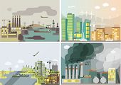stock photo of environmental pollution  - Industrial landscape set - JPG