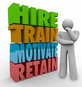 Постер, плакат: Hire Train Motivate and Retain 3d words beside a thinker to illustrate human resources practices t