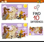 image of spotted dog  - Cartoon Illustration of Finding Differences Educational Game for Preschool Children - JPG
