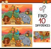stock photo of differences  - Cartoon Illustration of Finding Differences Educational Game for Preschool Children - JPG