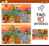 stock photo of preschool  - Cartoon Illustration of Finding Differences Educational Game for Preschool Children - JPG