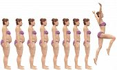 stock photo of fat woman  - A woman diets from fat to fitness in before and after series of 3D renders - JPG