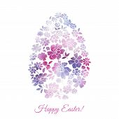 image of easter card  - Floral card for Easter day with watercolor flowers - JPG