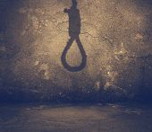 picture of hangman  - old interior with shadow of noose - JPG