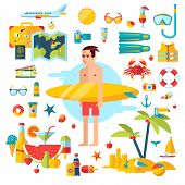 stock photo of toucan  - Flat modern design vector illustration concept of planning a summer vacation - JPG