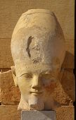 stock photo of hatshepsut  - Head of the Queen Hatshepsut in temple  - JPG