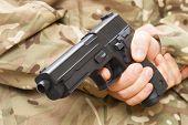 picture of gun shot  - Man holding gun behind his back  - JPG