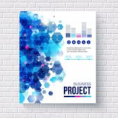 pic of hexagon pattern  - Blue vector design Business Report with analytical charts and editable text space decorated with an abstract hexagonal pattern hanging on a white brick wall - JPG