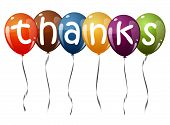 picture of thankful  - six flying balloons multi colored with text THANKS - JPG