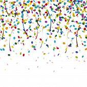 foto of confetti  - colored falling confetti seamless background for carnival party - JPG
