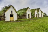 stock photo of iceland farm  - Traditional Icelandic Turf Houses in West Iceland - JPG
