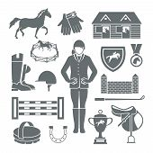 picture of horseshoe  - Jockey icons black set with horseshoe saddle medal barrier isolated vector illustration - JPG