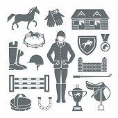 image of medal  - Jockey icons black set with horseshoe saddle medal barrier isolated vector illustration - JPG
