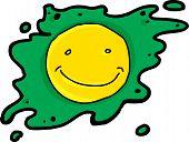 stock photo of yolk  - Smiling yellow yolk in green egg over white - JPG