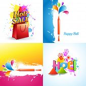 picture of holi  - vector set of different holi background with holi sale offer - JPG