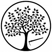 picture of hoe  - vector tree and hoe in round isolated on white background - JPG