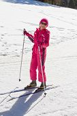 stock photo of nordic skiing  - Cute girl enjoying cross country skiing on a sunny day - JPG