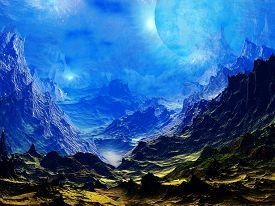 stock photo of surreal  - 3D illustration of fantasy and surreal landscape - JPG
