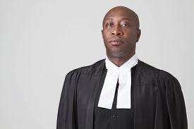 pic of toga  - Bald black man wearing a judicial toga - JPG