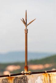 foto of lightning-rod  - Lightning rod on rooftop of the building - JPG
