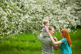 stock photo of father child  - Happy family having fun outdoors in spring garden - JPG