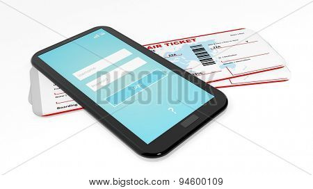 Tablet/smartphone and two air tickets isolated on white background