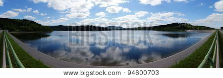 Panorama of the Granestausee with reflections of the sky