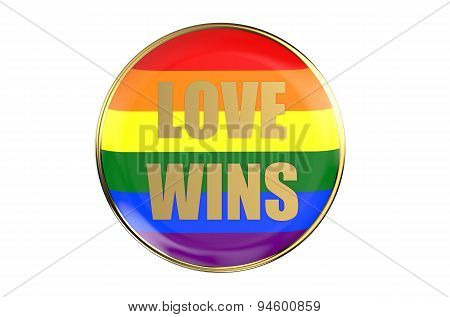 Badge With Rainbow Flag, Love Wins Concept