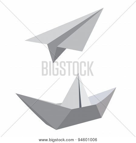 paper ship and airplane