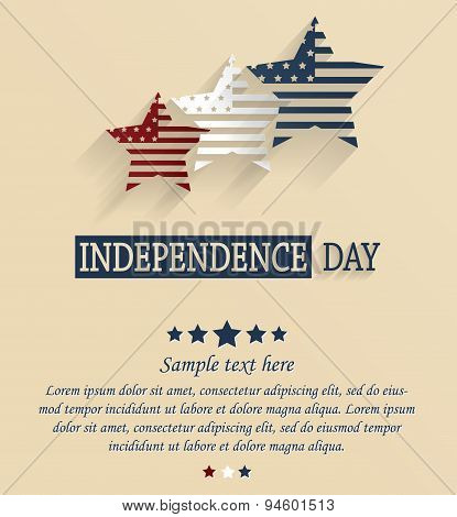 Independence Day card with space for your text. 4th Of July. Red, white and blue stars