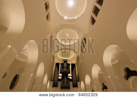 Modern Church interior with organ
