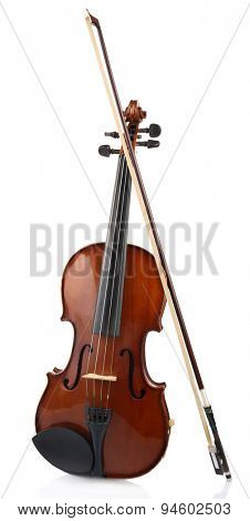 Classical violin with bow isolated on white