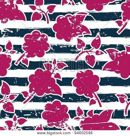 Vector Seamless Floral Pattern, Watercolor Blue Stripes And Pink Flowers. Abstract Summer Marine Gru