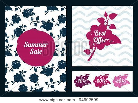 Set Of Vector Floral Flyers. Watercolor Flower Silhouette. Summer Or Spring Background Illustration.