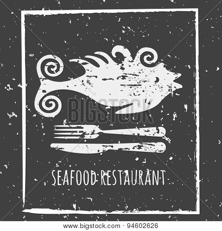 Vintage Seafood Restaurant Poster Background. Vector Grunge Fish, Fork And Knife Silhouette Black An