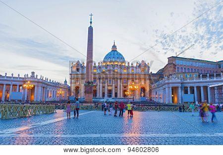 Saint Peter's Basilica In Vatican City At Dusk, Rome