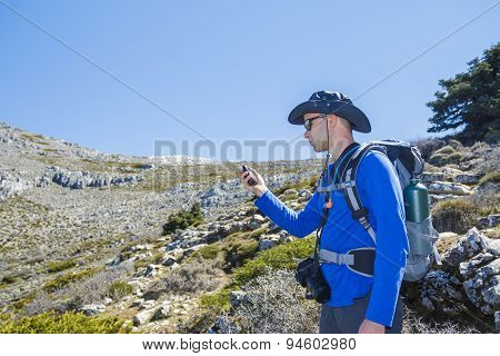 Man Using Gps