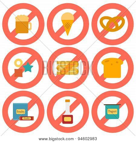Set of flat icons with allergic gluten products
