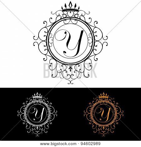 Letter Y. Luxury Logo Template Flourishes Calligraphic Elegant Ornament Lines. Business Sign, Identi