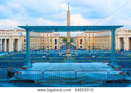 Obelisk At Saint Peter Square In Rome, Italy.