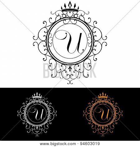 Letter U. Luxury Logo Template Flourishes Calligraphic Elegant Ornament Lines. Business Sign, Identi