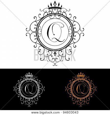 Letter Q. Luxury Logo Template Flourishes Calligraphic Elegant Ornament Lines. Business Sign, Identi