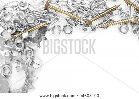 Screw nuts and wrenches frame, isolated on white