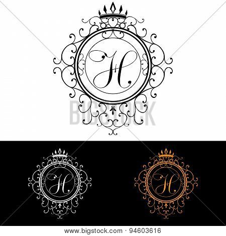 Letter H. Luxury Logo Template Flourishes Calligraphic Elegant Ornament Lines. Business Sign, Identi
